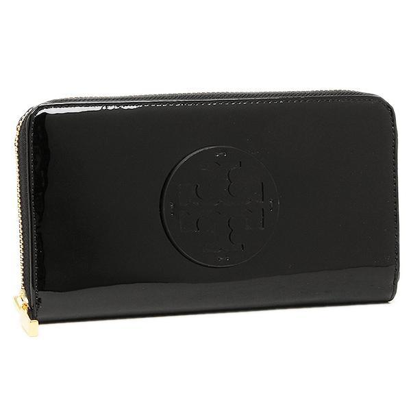 トリーバーチ TORY BURCH STACKED PATENT ZIP CONTINENTAL 長財布 BLACK  1
