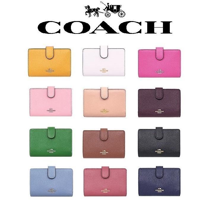 hot sale online 8ed21 bff89 コーチ COACH 二つ折り財布 クロスグレイン レザー ミディアム コーナー ジップ ウォレット プール