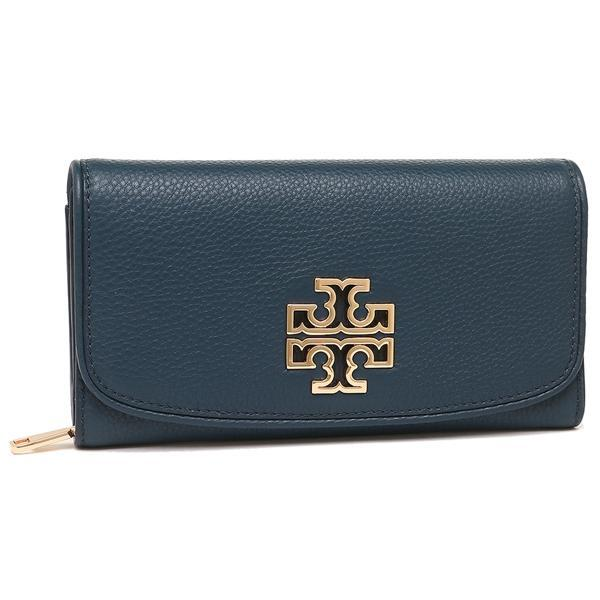 トリーバーチ TORY BURCH BRITTEN DUO ENVELOPE CONTINENTAL WALLET 長財布 HUDSON BAY 紺 1
