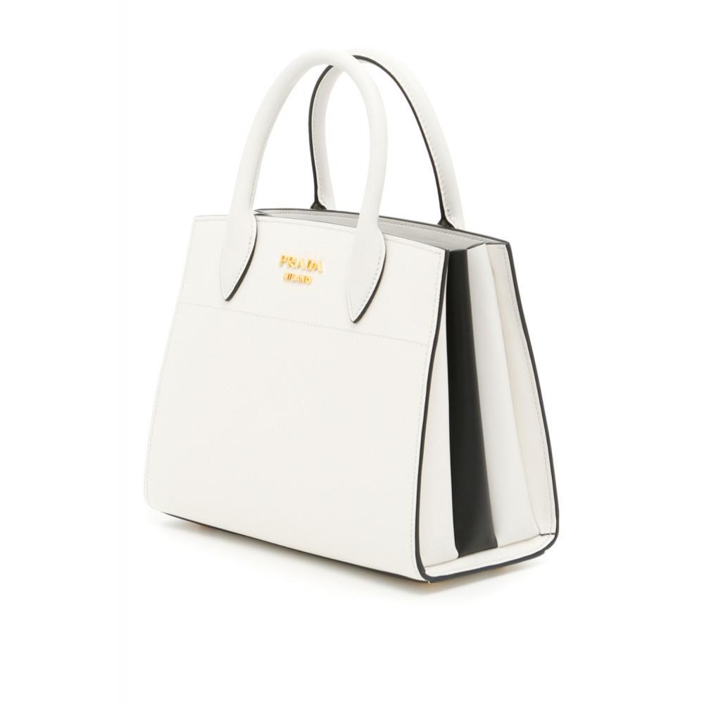7c302d5fa99d プラダ ビブリオテーク バッグ ハンド ショルダーバッグ ホワイト PRADA Bibliothèque Bag Saffiano leather