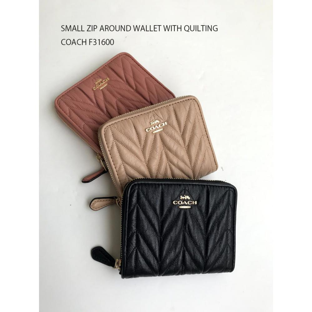 NWT COACH SMALL ZIP AROUND WALLET WITH QUILTING F31600 1