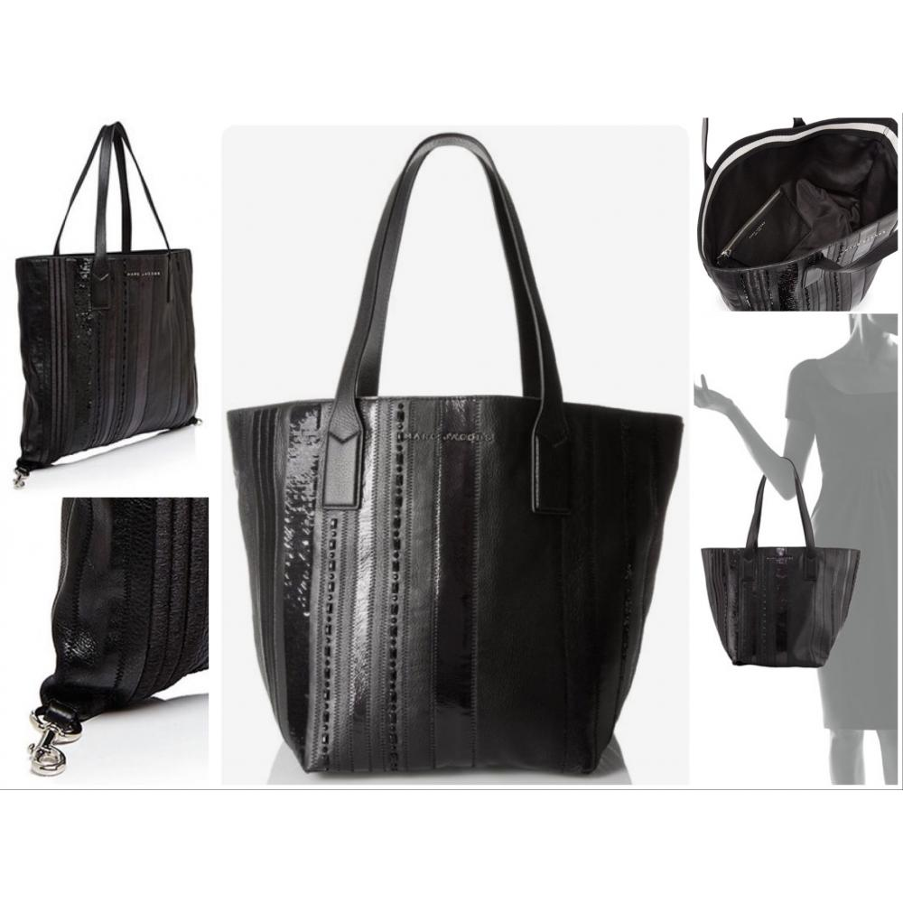 【Marc Jacobs】Wingman Stripe Shopping Tote ブラック 1