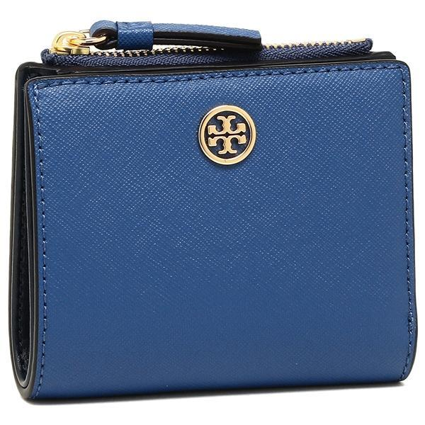 トリーバーチ TORY BURCH ROBINSON MINI WALLET 二つ折りREGAL BLUE/ROYAL NAVY 青  1