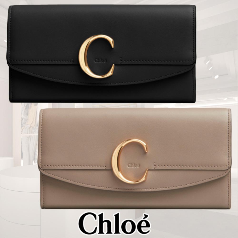 new concept ad1aa 859c9 Chloe カーフスキン「C」ロゴ フラップ付 長財布