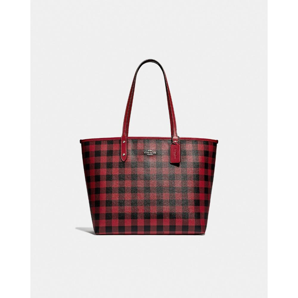 Coach Reversible City Tote with Gingham Print 1