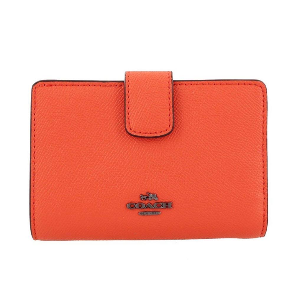 the latest ca1b1 3a330 コーチ COACH 二つ折り財布 クロスグレイン レザー Crossgrain Leather Medium Corner Zip F54010  ブライトオレンジ