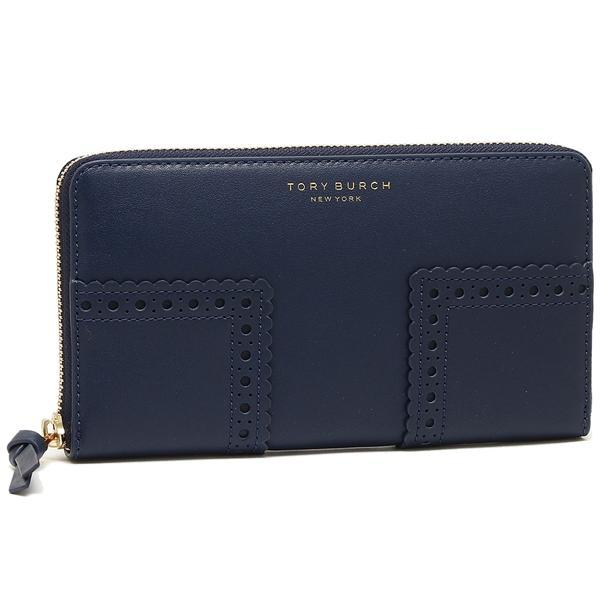 トリーバーチ TORY BURCH BLOCK-T BROGUE ZIP CONTINENTAL WALLET 長財布 ROYAL NAVY  1