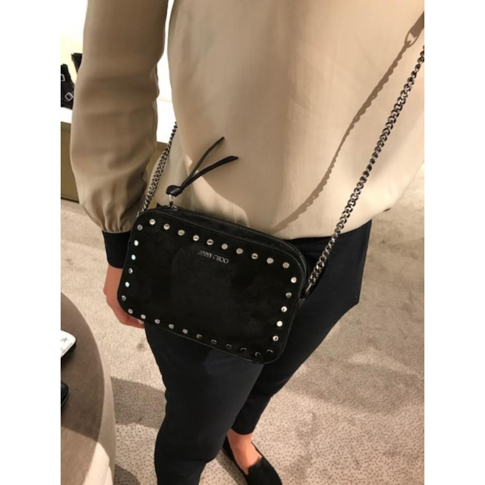 ジミー チュウ バッグ スエード スタッズ Jimmy Choo Quinn Suede Mini Bag with Round Studs Black/Nutme  1