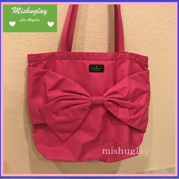 【kate spade】6月発表★on purpose♪リボン nylon tote★ピンク 1
