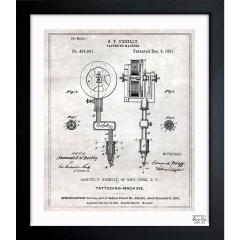 Oliver Gal Tattoo Machine 1891 Framed ブループリント 25x31(cm)