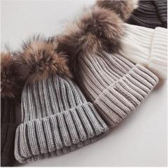 Calvin Klein Faux Fur Pom Pom Ribbed Knit Hat