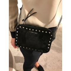 ジミー チュウ バッグ スエード スタッズ Jimmy Choo Quinn Suede Mini Bag with Round Studs Black/Nutme  2