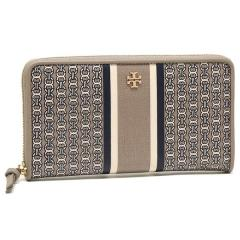 トリーバーチ TORY BURCH GEMINI LINK ZIP CONTINENTAL WALLET 長財布 FRENCH GRAY GEMINI LINK STRIPE
