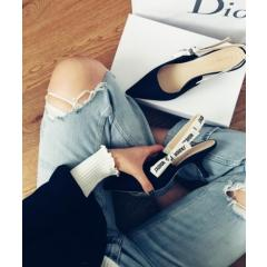 Christian Dior クリスチャンディオール 17AW J'ADIOR Slingback Black Leather 6.5cm 6